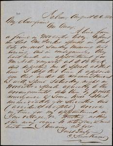 Letter from Charles Lenox Remond, Salem, [Massachusetts], to Samuel May, 1852 August 26
