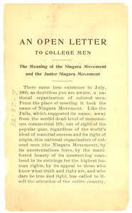 Thumbnail for An Open letter to college men: the meaning of the Niagara Movement and the junior Niagara Movement
