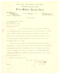 Letter from J. A. Gregg to W. E. B. Du Bois