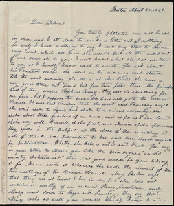 Letter from Lucia Weston, Boston, [Mass.], to Deborah Weston, April 28, 1839