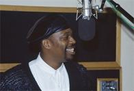 Grandmaster Caz of the Cold Crush Brothers recording a commercial for Funkmaster Flex, D&D Studios