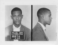 Mississippi State Sovereignty Commission photograph of Jan L. Triggs following his arrest for his participation in the Freedom Rides, Jackson, Mississippi, 1961 June 8