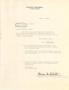 Letter from W. E. B. Du Bois to Bishop College