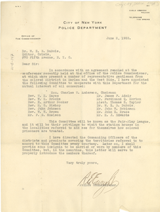 Letter from New York City Police Department to W. E. B. Du Bois