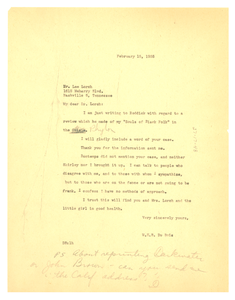 Letter from W. E. B. Du Bois to Lee Lorch