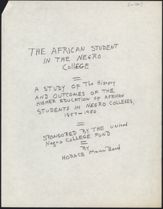 Thumbnail for African students survey: writings