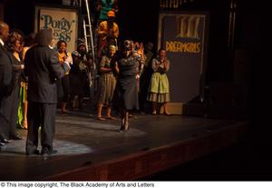 Curtis King, Erykah Badu, and Dereque Whiturs on Stage with Performers Hip Hop Broadway: The Musical