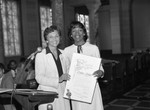 Roxie Roker receiving a commendation from Pat Russell, Los Angeles, 1983