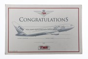 Trans World Airlines Junior Captain Certificate Notepad