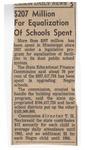 $207 Million For Equalization Of Schools Spent