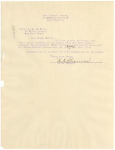 Letter from R. H. Thomas to W. E. B. Du Bois