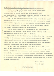 Statement by Norman Mailer on integration of the schools