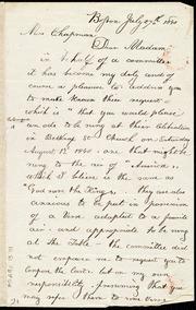 Letter to] Mrs. Chapman, Dear Madam [manuscript