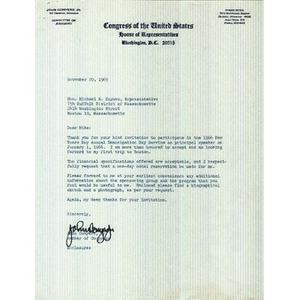 Letter from Congressman John Conyers, Jr. to Reverend Michael E. Haynes.