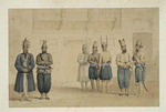 Cabul : retinue of Shah Shoojau Ool Moolk, Mahomed Shah Giljee, chief executioner, Ghufoor, a mutilator