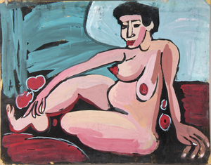 Seated Female Nude With Outstretched Leg