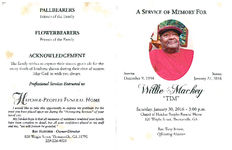 """A service of memory for Willie Mackey, """"Tim"""", Saturday, January 30, 2016- 3:00 p.m., Chapel of Hatcher Peoples Funeral Home, 820 Wright Street, Thomasville, GA, Rev. Tony Brown, officiating minister"""