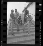 Group portrait of music group New Edition, 1985