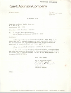 Letter from C. E. Atkinson to William Saunders, December 14, 1979