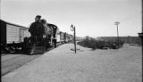 Argentina, train coming into train station at Choele-Choel