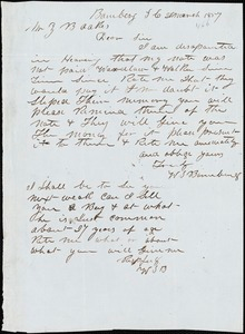 W. S. Bamberg, Bamberg. S.C., autograph note signed to Ziba B. Oakes, 20 March 1857
