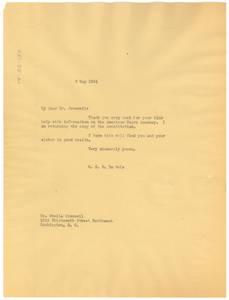 Letter from W. E. B. Du Bois to Otelia Cromwell