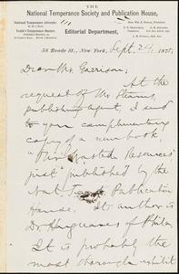 Letter from Aaron Macy Powell, New York, [New York], to William Lloyd Garrison, 1875 Sept[ember] 24