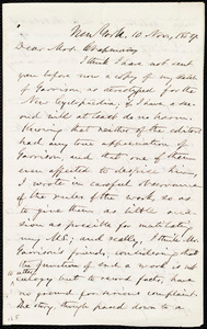 Letter from Oliver Johnson, New York, to Maria Weston Chapman, 10 Nov. 1859
