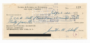 Check to SCLC from James Baldwin