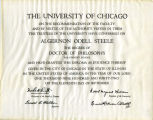 Diploma awarded to A.O. Steele by the University of Chicago, September 11, 1942