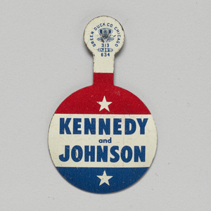 Folding tab button for Kennedy - Johnson 1960 presidential campaign