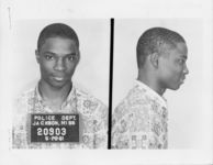 Mississippi State Sovereignty Commission photograph of Frederick Leonard following his arrest for his participation in the Freedom Rides, Jackson, Mississippi, 1961 May 28
