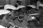 Bugle corps performing during a Black History Month ceremony, Los Angeles, 1982