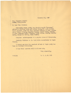Letter from W. E. B. Du Bois to Margaret Ritchie