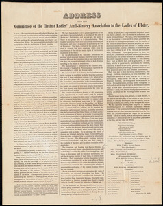 Address from the committee of the Belfast ladies' anti-slavery association to the ladies of Ulster, [Belfast, Ireland], September 23, 1846
