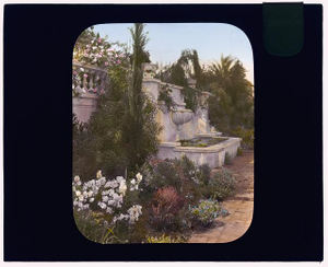 [Mrs. Eldridge Merick Fowler house, 363 Grove Street, Pasadena, California. Wall fountain]
