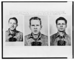 Official Alcatraz Federal Prison photos, ..., show three men reported to have escaped from Alcatraz Island in San Francisco Bay, early 6/12