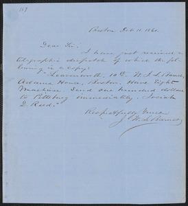 John W. LeBarnes autograph letter signed to [Thomas Wentworth Higginson], Boston, 11 February 1860