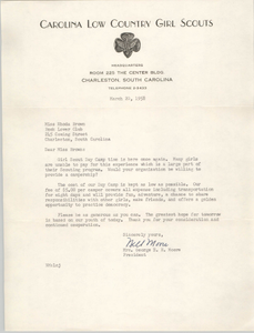 Letter from George E. H. Moore to Rhoda Brown, March 20, 1958