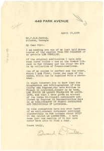 Letter from Edward L. Tinker to W. E. B. Du Bois
