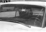 "Car with a smashed windshield, probably damaged during the ""March Against Fear"" through Mississippi, begun by James Meredith."