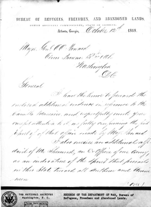 Letter: Atlanta, Georgia, to Major General Oliver Otis Howard, Washington, D.C, 1868 Oct. 12