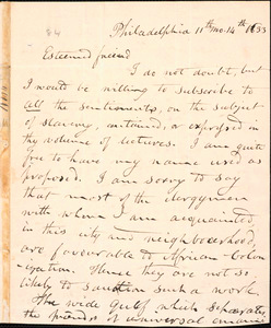 Letter from Evan Lewis, Philadelphia, to Amos Augustus Phelps, 11th mo. 14th 1833