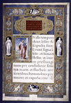Small miniature of St. Luke. Very elaborate frame-like border, with statue figures and multi-colored designs. Opening of text of Luke