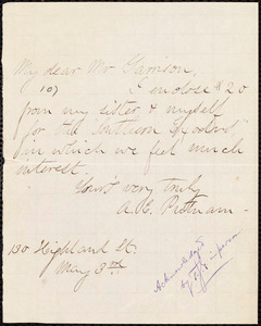 Letter from A. E. Putnam, to William Lloyd Garrison, May 3rd [1879]