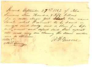 [Bill of Sale to Alexander Simon from W.P. Moore for slave Sarah, 1862]