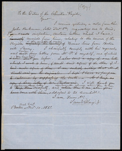 Copy of a letter from Samuel May, [Boston], [Dec. 10, 1851?]