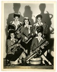 """Sweethearts"" in the saxophone section, 1944. [Black-and-white photoprint]"