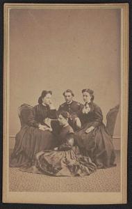 [Unidentified soldier in Union uniform with three unidentified women]