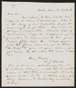 Richard J. Hinton autograph letter signed to [Thomas Wentworth Higginson], Boston, 7 March [18]60